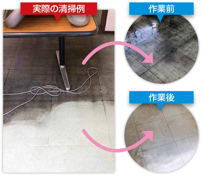 塩化ビニルタイルの清掃の事例