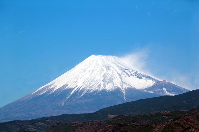 雪が積もった富士山