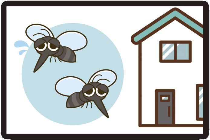 屋外から飛んできた虫を捕獲する